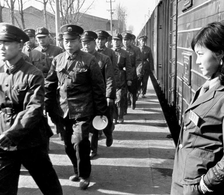 Shi Baoxiu - Soldiers Being Transported to the Front Line in Yunnan Use the Railway Military Station for their Meal