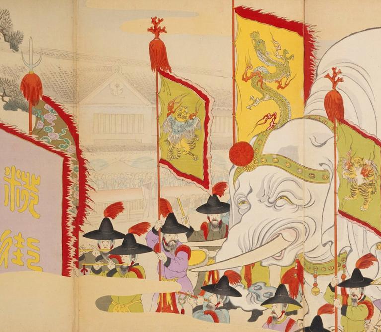 19th century woodblock print by Toyohara Chikanobu