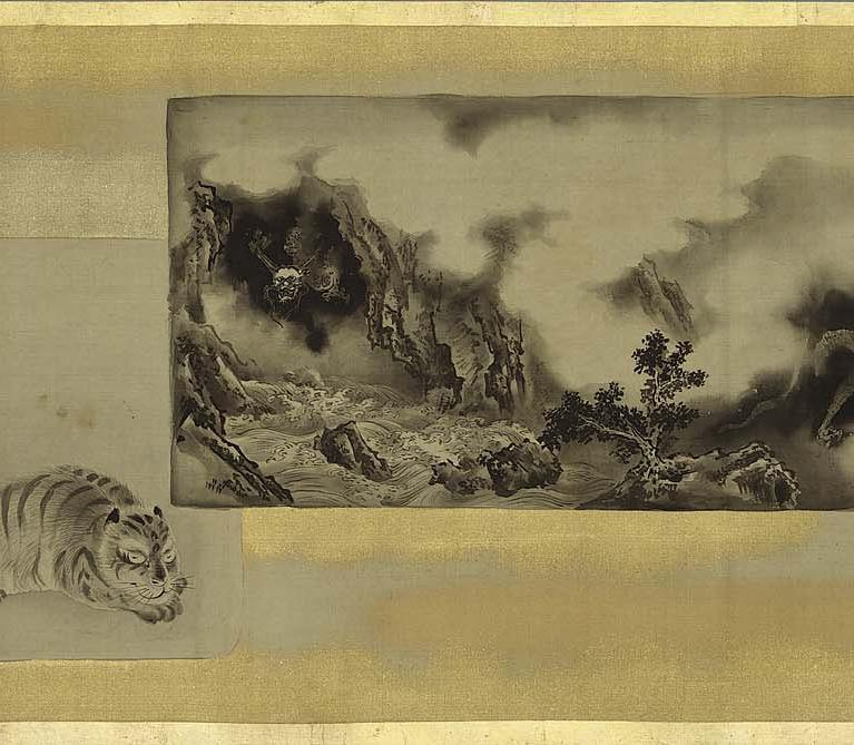 Artwork by:  Kano Isen'in Naganobu. Artwork title: Copies of Paintings by Chinese and Japanese Masters