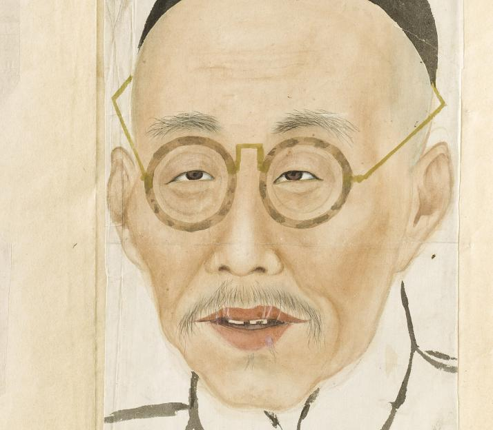 Artwork by:   . Artwork title: Male portraits from Baishou lianpu, Collection of Faces of One-Hundred Elderly