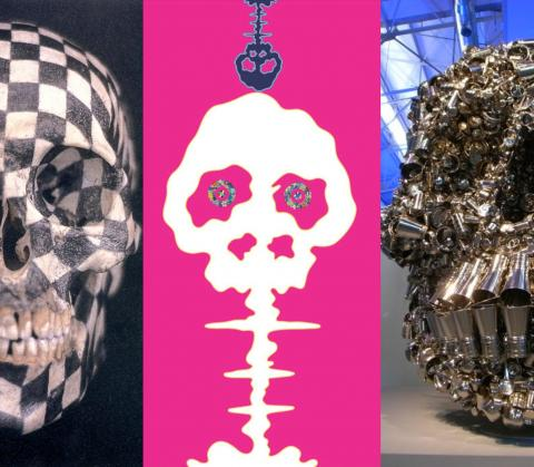Artwork by:  Composite view . Artwork title: Gabriel Orozco, Black Kites, 1997 (left); Murakami Takashi, Time Bokan, 2001 (center); Subodh Gupta, Very Hungry God, 2006 (right)