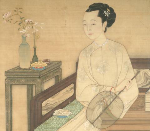 Artwork by:  Mang Huli. Artwork title: Seated Lady Holding a Fan